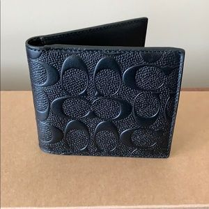 Coach Coin Wallet In Signature Leather Black